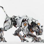 Silver snow robot panther on light background