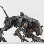Satin black robot panther on light background