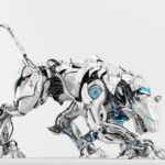 Pearl white robot panther on light background