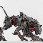 Satin black robot panther on light background II
