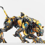 Black-yellow robot panther on light background