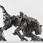 Satin black robot panther with strong tail