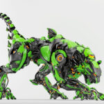 Green-black robot panther with huge tail