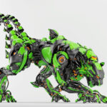 Green-black robot panther with double tail