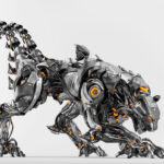Steel black robot panther with double tail